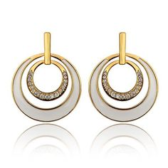 18K Gold Layering Spiral Circle Earrings Made with Swarovksi Elements, Women's