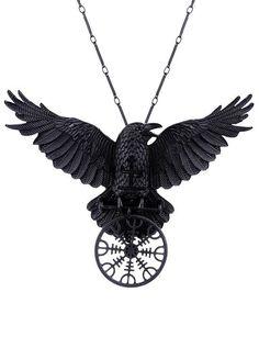 Helm of awe raven pendant