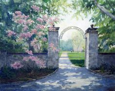 DIckinson College Gate - painting by Ann Fitzpatrick.