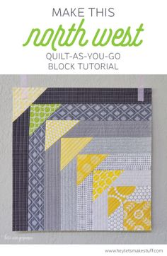 West Quilt-As-You-Go Block Tutorial This Quilt-As-You-Go block uses foundation pieceing to create faux flying geese.This Quilt-As-You-Go block uses foundation pieceing to create faux flying geese. Patchwork Quilting, Quilting Tips, Quilting Tutorials, Machine Quilting, Quilting Designs, Sewing Tutorials, Quilt Block Patterns, Pattern Blocks, Quilt Blocks