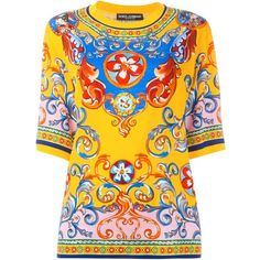 Dolce & Gabbana Carretto Siciliano print top (€680) found on Polyvore featuring women's fashion, tops, multi color tops, print tops, yellow top, colorful tops and boxy top