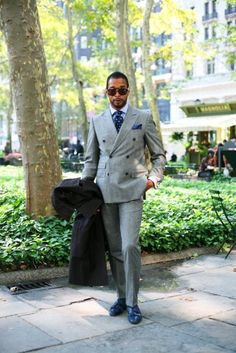 Grey double breast suit