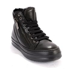Black Leather / Shearling Lining Lace-Up / Side Zip Ankle Booties / Sneakers 20% OFF- Code PINTEREST20