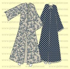 طريقة مبسطة لقص عباية ذات أربع قطع  Drawing Pattern Abaya Motif Abaya, Abaya Pattern, Dress Patterns, Sewing Patterns, Black Abaya, Abaya Designs, Muslim Dress, Batik Dress, Abaya Fashion