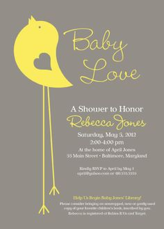 Little Bird Baby Shower Invitation Yellow and Grey by melsie0110, $16.00