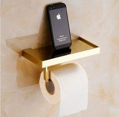 Wall Mounted Toilet Tissue Paper Holder with Shelf Gold Brass