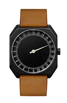 slow-Jo-19-Swiss-Made-one-hand-24-hour-watch-Black-with-brown-leather-band