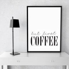 """but first Coffee"" Quote Canvas Print Wall Art"