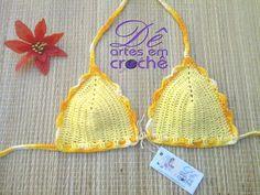 Sutiã de Biquíni Cortininha em Crochê, SEM BOJO,by Dê Artes em Crochê.