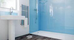 glass instead of tiles bathroom walk-in shower blue wall panels