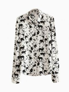 White Shirt With Cat Pattern - Choies.com