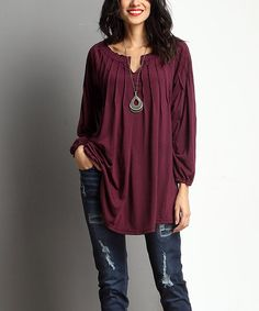 Loving this Plum Notch Neck Tunic on #zulily! #zulilyfinds. Looks We Love