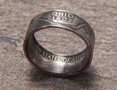 Coin Ring Ohio made from a Copper Nickel Quarter Statehood jewelry great unique gift