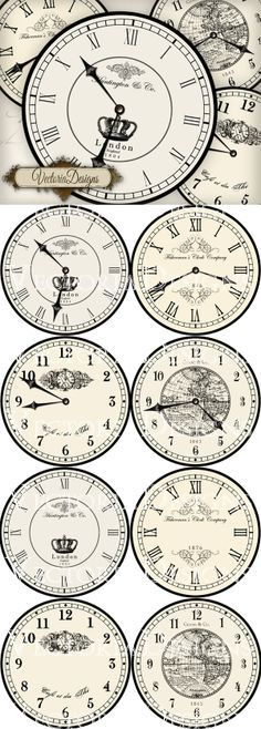 8 large vintage inspired clock ima es, each diameter: 4 different clocks with handles and 4 without handles. You can use these to print on fabric transfers, for decoupage, for scrapbooking, fo. Vintage Labels, Vintage Ephemera, Vintage Paper, Vintage Clocks, Vintage Bee, Shabby Vintage, Shabby Chic, Printable Paper, Printable Vintage