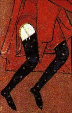 Calzas soladas ornamentadas y atadas con ligas. Hacia 1187-1200. Epifanía, talleres de Vic, Museo Episcopal de Vic, Barcelona