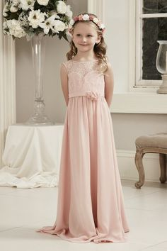 d6d05f021e7d Alexia Designs style Long chiffon dress with lace bodice and floral  detail(Junior version of adult style