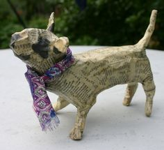 Papier Maché Bull Terrier with Purple Paisley scarf