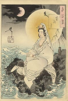 Moon of the Southern Sea from the 100 Aspects of the Moon series. This print depicts the Bodhisattva of mercy and compassion who is known in Japan as Kannon, who is revered by Japanese sailors and fishermen.