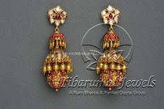 Gold Diamond Ruby Jhumka Designs, Gold Jhumka Designs With Diamond and Rubies.