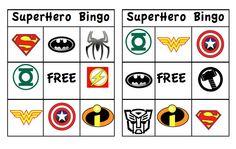 FREE Superhero Bingo Printable, links for other Free Printables and ideas for a Superhero party!