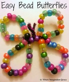 Easy bead butterflies. Bed Rested Teacher: 50 Spring Crafts and Snacks!