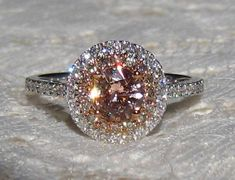 Peach Sapphire in White and Rose Gold Double Diamond Halo Engagement Ring with Champagne Diamonds, by JuliaBJewelry