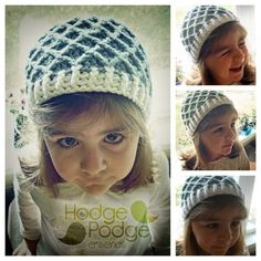 diamond hat; free pattern, tute, and link to teaching video; again, cute with small shell edging in darker color and flower for S and girls