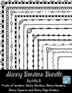 Skinny Borders Bundle. Four sets of borders: borders, headers, squares, and page dividers each with 21 matching designs. $