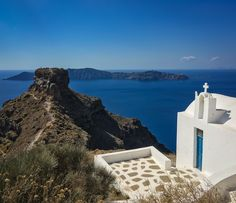Thinking about summer, and hiking out to Skaros rock, looking out over the vivid blue waters of Santorini's caldera...