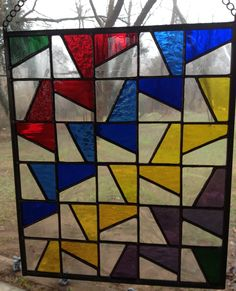 stained+glass+panels | Stained Glass Panel – Colorful Geometric Ribbons