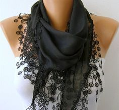 Black Shawl  - Cotton  Scarf -  Cowl with Lace Edge   - fatwoman