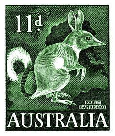 1959 Australia Bandicoot Postage Stamp by Retro Graphics Rare Stamps, Vintage Stamps, Australia Funny, Coast Australia, Postage Stamp Design, Australian Animals, Australian Icons, Ayers Rock, Aboriginal Artwork