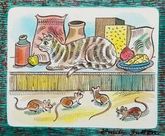 """Kitchen Cat"" by Emily Sutton (watercolour)"