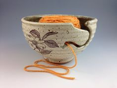 Yarn Bowl with Dogwood Motif  Knitting Bowl by  Neal Pottery, $48.00