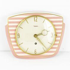Ceramic Diehl clock, Brusel style, Germany, 60s | Ceramiczny zegar Diehl w stylu Brusel, Niemcy lata 60.  | buy on Patyna.pl | #forsale #vintage #vintagefinds #vintageshop #vintagelove #retro #old #design #home #midcenturymodern #want #amazing #home #inspiration #kitchen #decoration #furniture #ceramics #glass #white #diehl #pink #clock #german #time #60s #1960s Vintage Love, Vintage Shops, Electronics Gadgets, Op Art, Midcentury Modern, Clock, Retro, Glass, 1960s
