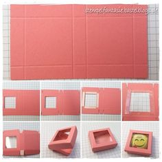 Tutorial / instructions for mini pizza box for mini Lindt emojis - stampin-up_anleitung_tutorial_verpackung_give-away_goodie_gastgeschenk_lindt-mini-emoji_smiley_scho - Diy Gift Box, Diy Box, Diy Gifts, Stampin Up Anleitung, Mini Pizza, Box Packaging, Paper Packaging, Stamping Up, Craft Tutorials