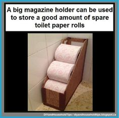 16 Clever Ways To Organize Your Life With Magazine Holders A big magazine holder can be used to store a good amount of spare toilet paper rolls Small Bathroom Organization, Rv Organization, Bathroom Storage, Travel Trailer Organization, Diy Bathroom, Bathroom Hacks, Camper Bathroom, Bathroom Ideas, Design Bathroom
