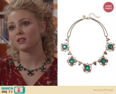 Carrie's green flower necklace on The Carrie Diaries. Outfit Details: http://wornontv.net/24437 #TheCarrieDiaries #fashion