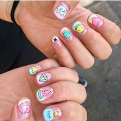Pretty Nail Art, Cute Nail Art, Cute Acrylic Nails, Hot Nails, Swag Nails, Fruit Nail Art, Yellow Nail Art, Nail Art Designs Videos, Kawaii Nails