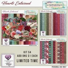 Scrapbookcrazy Creations by Robyn - Hearts Entwined Preview | Just in time for Valentines Day is a kit for those we love called Hearts Entwined by Scrapbookcrazy Creations by Robyn now available at Go Digital Scrapbookinghttp://www.godigitalscrapbooking.com/shop/index.php?main_page=index&manufacturers_id=178. Check out the matching Glitter papers and add on pattern papers for just $1 each for a limited time.