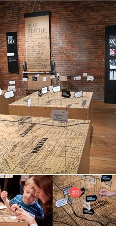 Pegboard Seattle Map - could ask museum goers to add points of interest or memories to the map that mean something to them
