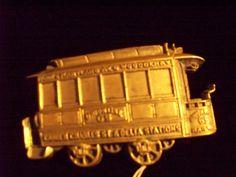 Vintage 1979 Solid Brass Train Caboose Belt Buckle Union Line 65 Railway. $18.00, via Etsy.