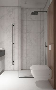 We like the tile setup for guest bathroom. Vertical tile and glass with black outlines. Black or dark color. fixtures will go great too. Floating toilet too but no wood behind toilet.