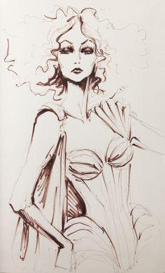 fashion illustration in pen #Micron #fashion #illustration