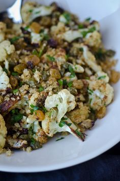 blissful eats with tina jeffers: Crispy cauliflower with capers raisins and breadcrumbs - Bliss