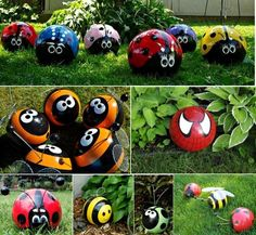 Upcycled Bowling Balls become Bowling Ball Bugs , Bowling Ball Ladybugs, Bowling Ball Bees, Bowling Ball Spiderman.
