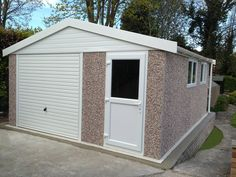 Concrete Apex garage with front personnel access door Concrete Garages, Prefab, Shed, Outdoor Structures, Doors, Barns, Sheds, Gate