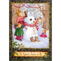 Hallmark Boxed Christmas Cards - Rabbits and Snowman by Susan Wheeler - The Happiest Season of All - 20 Cards Per Box - ONLY ONE LEFT! Susan Wheeler, Boxed Christmas Cards, Christmas Art, Vintage Christmas, Christmas Journal, Bunny Art, Cute Bunny, Beatrix Potter, Holly Hill
