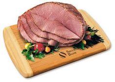 Spiral-Sliced Half Ham with Bamboo Cutting Board