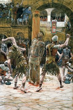 These are watercolor paintings of the betrayal, trial, crucifixion, and resurrection of Jesus Christ by French painter John Jacques Tissot. They accurately depict the passion of Christ, during Holy Week leading up to Easter. Catholic Art, Religious Art, Flagellation, Image Jesus, Life Of Christ, Les Religions, Jesus Art, Biblical Art, Joker And Harley